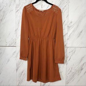 3/$60 Blu Pepper Spike Orange Open Back Dress SZ M